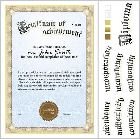 Vector illustration of gold certificate  Template  Vertical  Additional design elements  Illustration