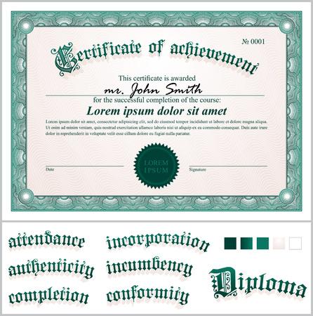 Vector illustration of green certificate  Template  Horizontal  Additional design elements  Illustration