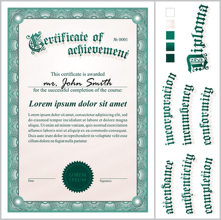 Vector illustration of green certificate  Template  Vertical  Additional design elements  Vector