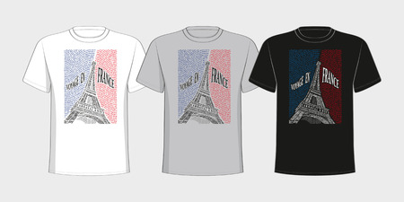 T-shirt with a picture of the Eiffel Tower from the names of the attractions of France