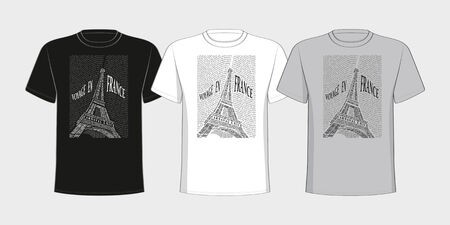 T-shirt with a picture of the Eiffel Tower from the names of the attractions of France  Black and white