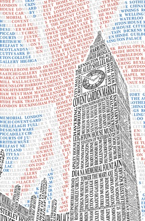 english flag: Big Ben of the names of London attractions illustration