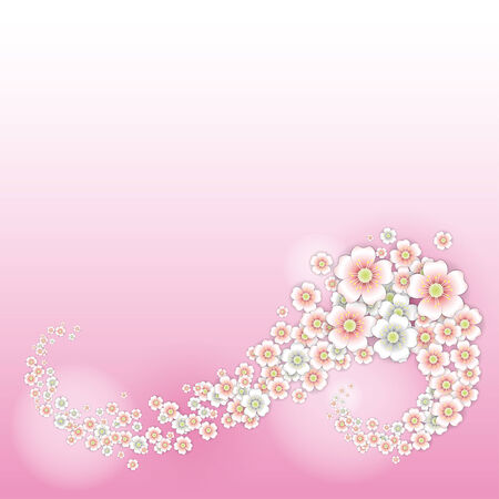 Spring wind blows cherry blossoms  Background Illustration