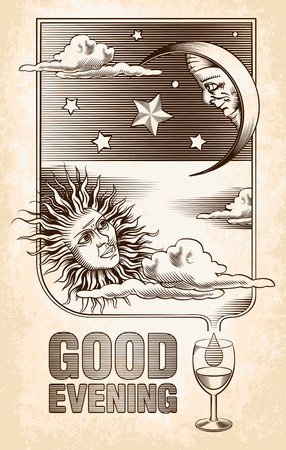good evening: Vintage drawing of the sun, moon and stars  Good evening   Vector