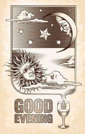 sonne mond: Vintages Zeichnen der Sonne, Mond und Sterne Guten Abend Vector