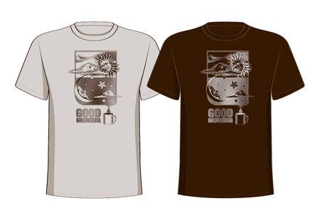 Design t-shirts with vintage printing sun, moon and stars  Good morning  Vector illustration Illustration