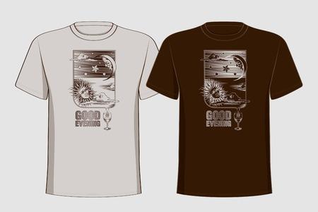 sonne mond: Design T-Shirts mit Vintage-Druck Sonne, Mond und Sterne Guten Abend Vektor-Illustration