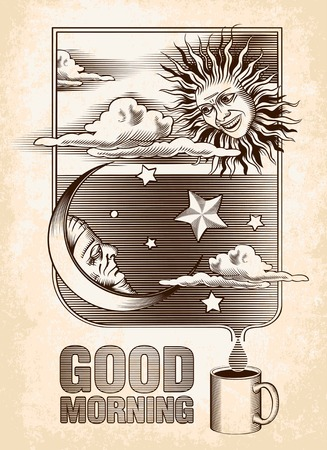 Vintage drawing of the sun, moon and stars  Good morning  Vector illustration