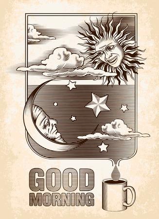 zon en maan: Vintage tekening van de zon, maan en sterren Goedemorgen Vector illustratie Stock Illustratie