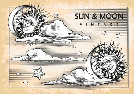 sonne mond und sterne: Der Mond, Sonne und Wolken Set Vintage-Elemente Vektor Illustration