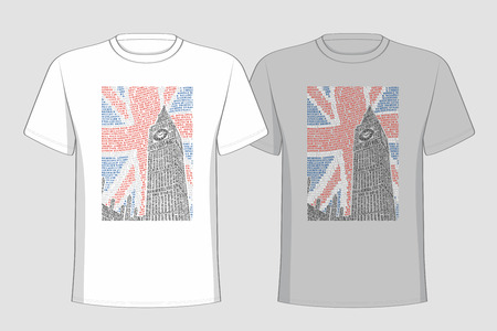 attractions: T-shirt with a picture of the Big Ben of the names of London attractions.  Illustration