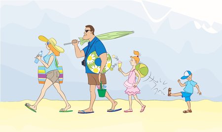 Large family goes to sea or beach