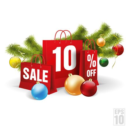 christmas red shopping bag printed with a ten discount. Vector