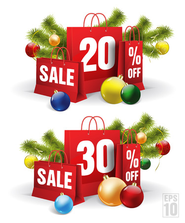 christmas shopping bag printed with a twenty and thirty discount. Vector Illustration