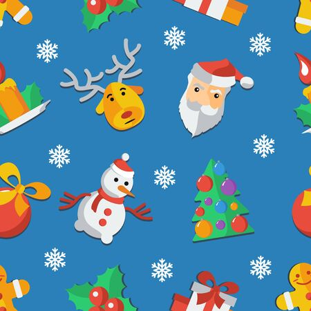 Illustration for Christmas and New Year Flat design Pattern Vector illustration.