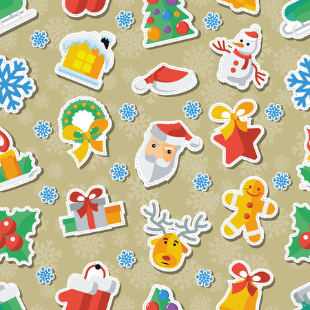 Illustration for Christmas and New Year Flat design Vector illustration Applique. Illustration
