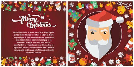Illustration of Christmas and Happy New Year flat design leaflet. Illustration