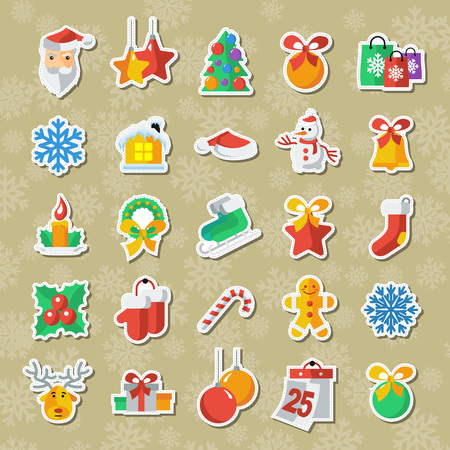 Set of Christmas and New Year icons vector clipart Applique.