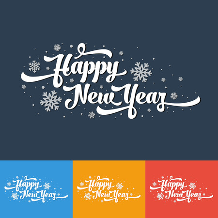 Vector text on color background. Happy New Year lettering for invitation and greeting card, prints and posters. Calligraphic design.