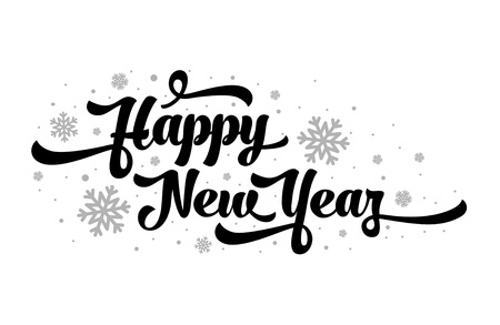 Vector text on white background. Happy New Year lettering for invitation and greeting card, prints and posters. Calligraphic design Illustration