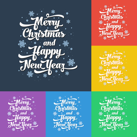 Vector text on colour background. Merry Christmas and Happy New Year lettering for invitation and greeting card, prints and posters. Calligraphic design Illustration