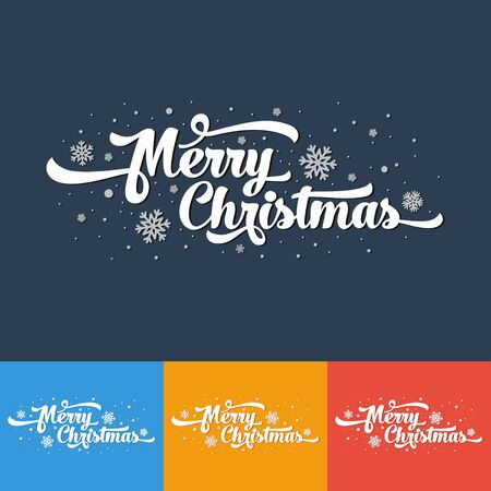 Vector text on color background. Merry Christmas lettering for invitation and greeting card, prints and posters. Calligraphic design.