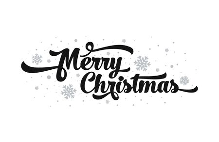 Vector text on white background. Merry Christmas lettering for invitation and greeting card, prints and posters. Calligraphic design.