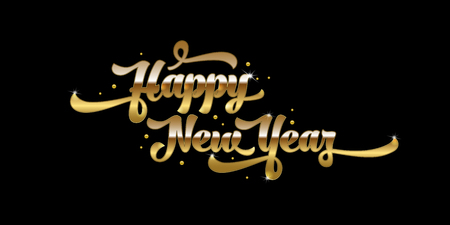 Golden text on black background. Happy New Year lettering for invitation and greeting card, prints and posters. Hand drawn inscription, calligraphic design. Vector illustration