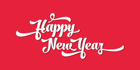 White text on a red background. Happy New Year lettering for invitation and greeting card, prints and posters. Calligraphic design