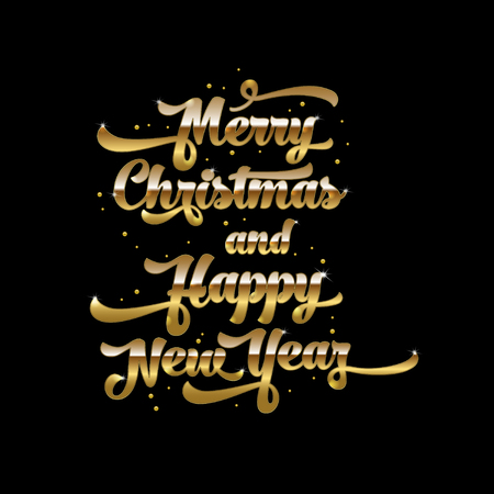 Golden text on black background. Merry Christmas and Happy New Year lettering for invitation and greeting card, prints and posters. Hand drawn inscription, calligraphic design. Vector illustration Illustration