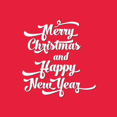White text on a red background. Merry Christmas and Happy New Year lettering for invitation and greeting card, prints and posters. Calligraphic design Illustration