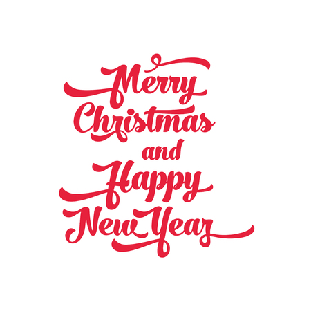 Red text on a white background. Merry Christmas and Happy New Year lettering for invitation and greeting card, prints and posters. Calligraphic design