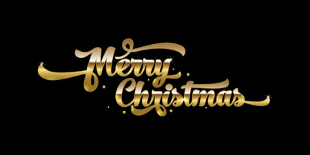 Golden text on black background. Merry Christmas lettering for invitation and greeting card, prints and posters. Hand drawn inscription, calligraphic design. Vector illustration