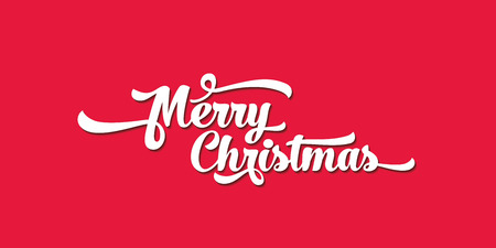White text on a red background. Merry Christmas lettering for invitation and greeting card, prints and posters. Calligraphic design Illustration