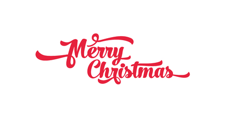 Red text on a white background. Merry Christmas lettering for invitation and greeting card, prints and posters. Calligraphic design