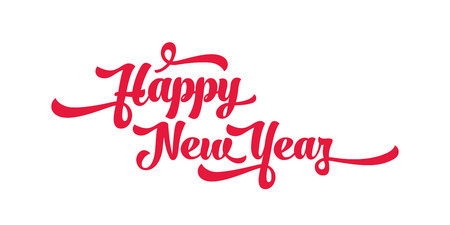 Red text on a white background. Happy New Year lettering for invitation and greeting card, prints and posters. Calligraphic design Illustration