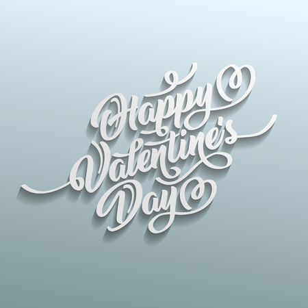 Happy Valentines Day hand drawn brush lettering with shadow on gray background. Perfect for holiday flat design.