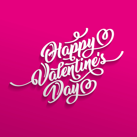 Happy Valentines Day hand drawn brush lettering with shadow, isolated on crimson background. Perfect for holiday, flat design. Illustration