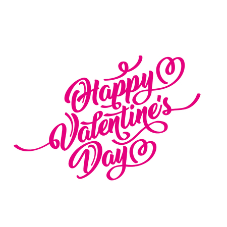 Happy Valentines Day hand drawn brush lettering, isolated on white background. Perfect for holiday, flat design. Illustration
