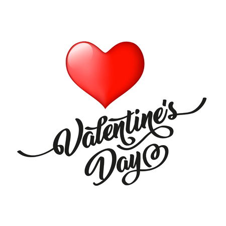Valentine s Day hand-drawn caligraphic black inscription and heart, isolated on white background. Perfect for holiday flat design. Vector illustration.