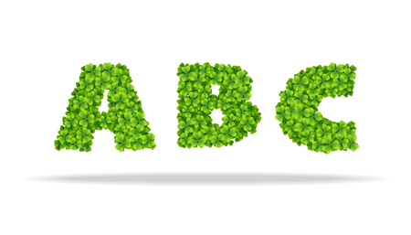 Alphabet from the leaves of the clover. Letters ABC.