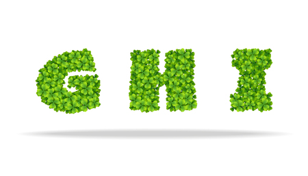 Alfavit from the leaves of the clover. Letters GHI. For the design of St. Patrick s Day. Advertising, posters, printing