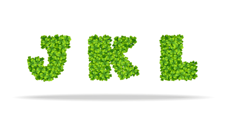 Alfavit from the leaves of the clover. Letters JKL. For the design of St. Patrick s Day. Advertising, posters, printing