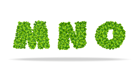 Alfavit from the leaves of the clover. Letters MNO. For the design of St. Patrick s Day. Advertising, posters, printing Illustration