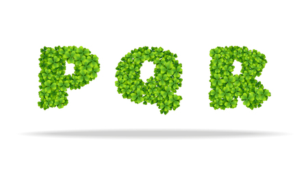 Alphabet from the leaves of the clover. Letters PQR.