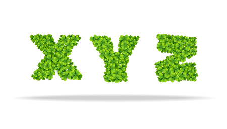 Alphabet from the leaves of the clover. Letters XYZ.