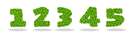 Numeral from the leaves of the clover. Illustration