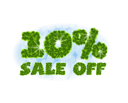Spring sale 10 percent off. Letters and figures from maple leaves on a heavenly background.