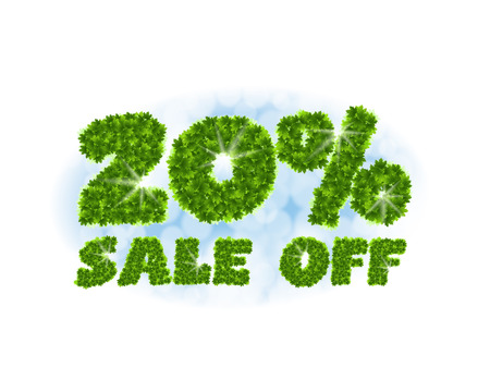 Spring sale 20 percent off. Letters and figures from maple leaves on a heavenly background.