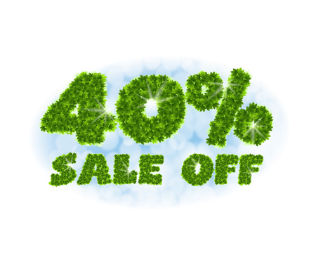 Spring sale 40 percent off. Letters and figures from maple leaves on a heavenly background.